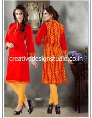 Orange cotton printed Kurtis