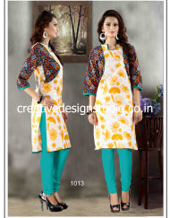 Jacket Style Kurti with Floral Print 1013