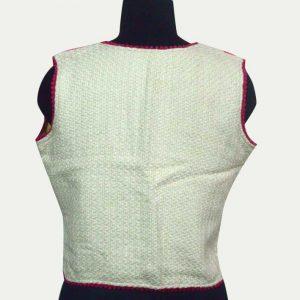 Cotton Jacquard Short Sleeveless Jacket for woman