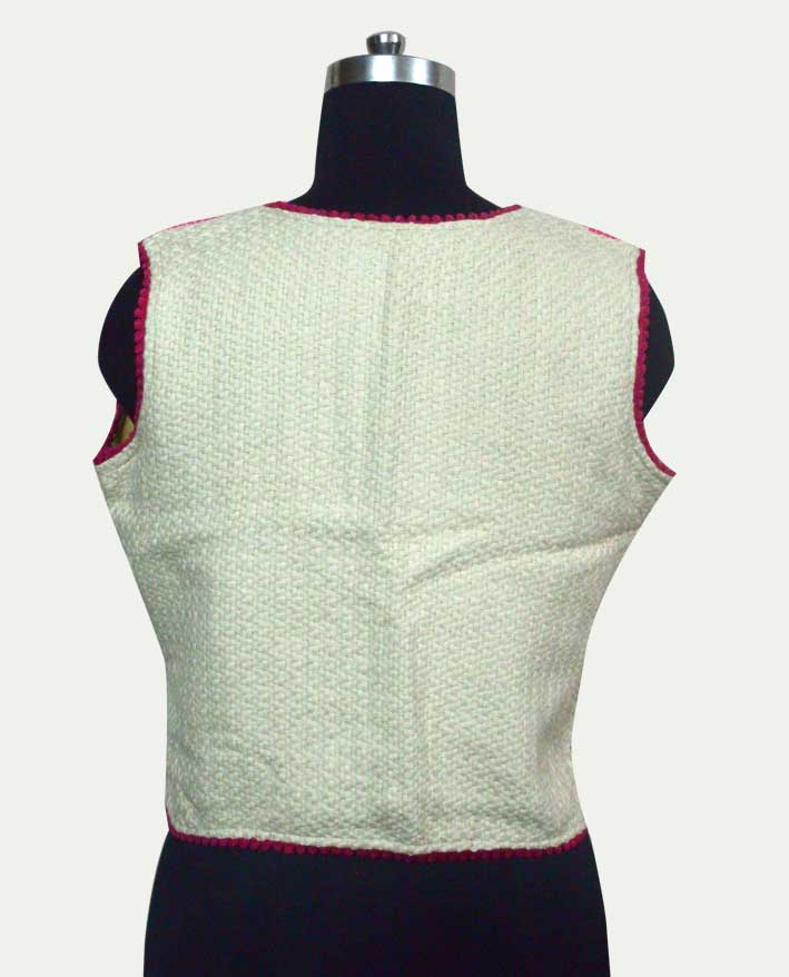 Cotton Jacquard Short Sleeveless Jacket for woman