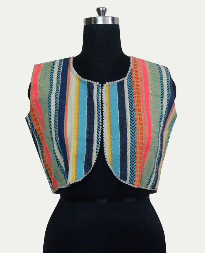 Cotton Sleeveless Multi color Short Jacket