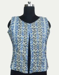 Cotton Jacquard Sleeveless Short Jacket