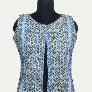 Cotton Jacquard Sleeveless Short Jacket