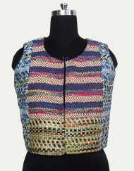 Cotton Jacquard Short Sleeveless Jacket