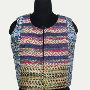 Cotton Jacquard Short Sleeveless Jacket