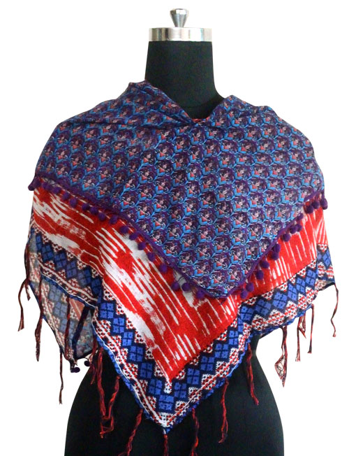Pure Cotton Printed Scarf with lace fabric