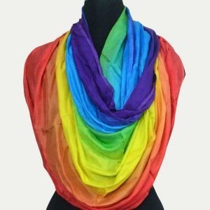 Pure Satin Rainbow dying Scarf