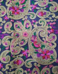 Multi color Chain stitch Paisley Embroidery fabric