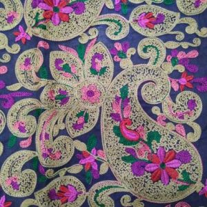 Multi color Chain stitch Paisley Embroidery fabric