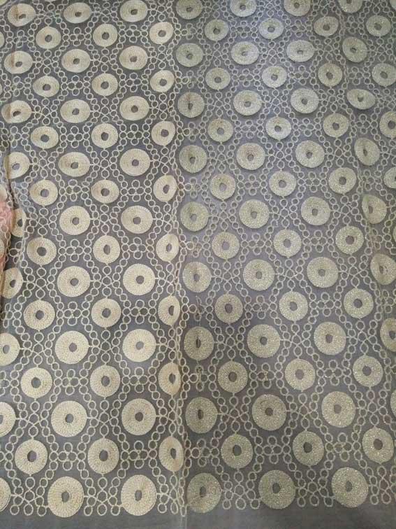 Zari Chain stitch Embroidery fabric