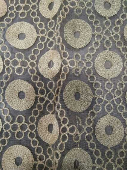 Zari Chain Stitch Embroidery Fabric